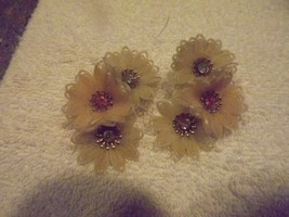 VINTAGE PLASTIC  WHITE FLOWERED AND RHINESTONE EARRINGS - $12.82
