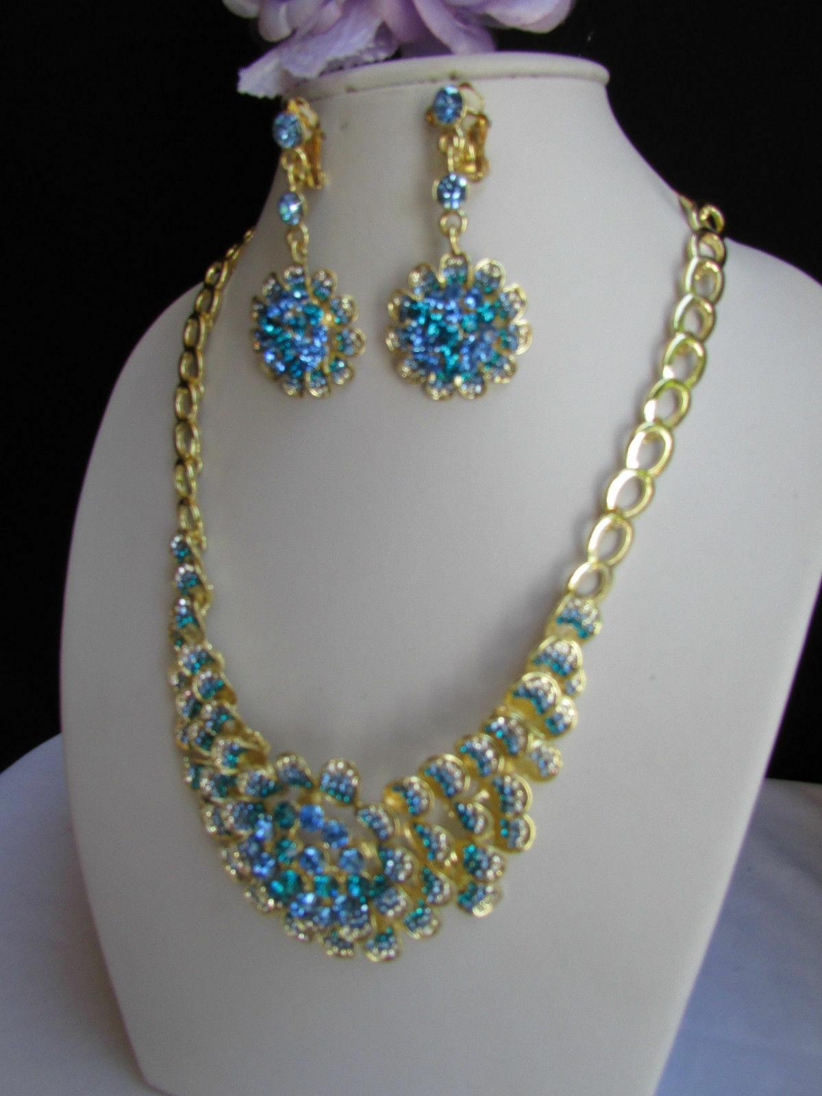 Nuevo Mujer Grande Dorado Flor Tendencia Jewelry Azul Diamantes Collar image 8