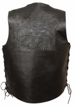 MEN'S MOTORCYCLE BLACK EAGLE HEAD & STARS EMBROIDERED LEATHER VEST W/SID... - $60.76+
