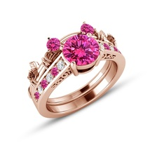 Rose Gold Over Pink Sapphire & Diamond Mickey Mouse Bridal Engagement Ring Set - $93.93