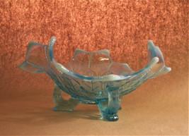 Northwood Antique Blue Opalescent Glass Bowl Leaf Pattern - $40.00