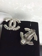 AUTHENTIC CHANEL LARGE CRYSTAL CC STRASS RHINESTONE EARRINGS CLIP ON SILVER MINT image 3