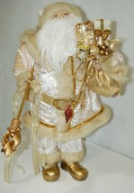 Sterling Brand Large Luxurious Ivory Santa Figurine Holding Gold Color Staff image 1