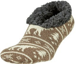 Field & Stream Cozy Cabin Slippers - Brown and White Moose, trees w/aloe... - $14.84