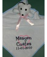 PERSONALIZED BABY BLANKIE LOVIE NUNU TEDDY BEAR BLUE Security Blanket Ba... - $9.99