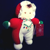 "Soft Dreams Rattle Doll 8"" Merry Christmas Red White Brunette Plush Stuf... - $19.30"