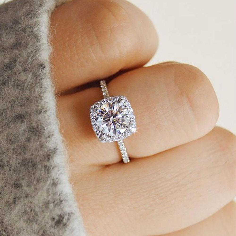 2019 Big Cubic Zirconia Ring Fashion Wedding Jewelry Female Engagement Ring Fema