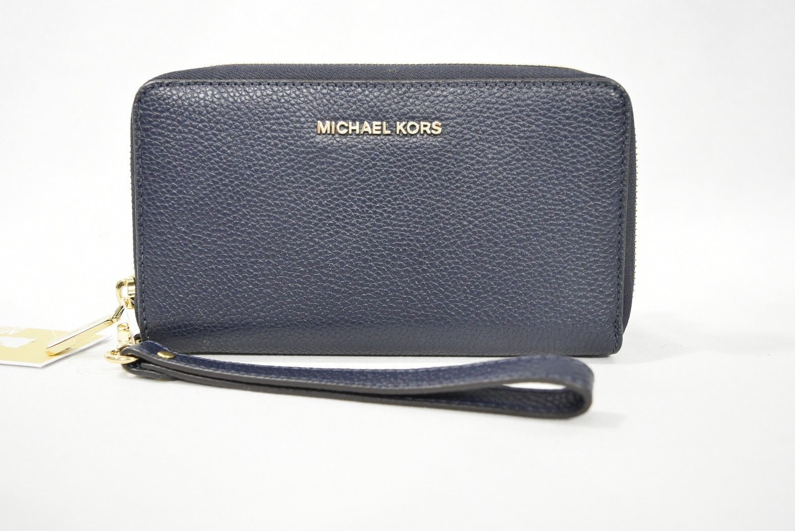 a8b6e448bedbdb Michael Kors Mercer Large Leather Smartphone Wristlet /Wallet in Admiral  Blue