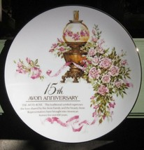 THE AVON  ROSE 15th ANNIVERSARY PORCELAIN PLATE DISH VICTORIAN LAMP DESI... - $9.49