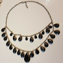 Black Tear Drop Pendant Swag NECKLACE Faceted Pear Adjustable Silver tone Chain - $9.89