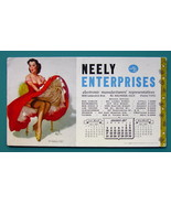 1957 INK BLOTTER AD - Neely Enterprises CA & Pin-Up Girl Whooping Up Red... - $4.49