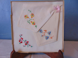 Vintage Boxed Set Of Three Embroided Hankies From Kresge Co. - $12.00