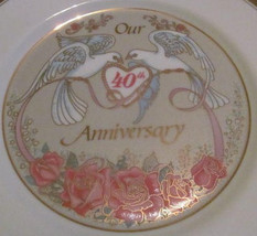 "Vintage Our ""40th Ruby Anniversary"" Display Plate, Wedding Celebration G... - $29.99"