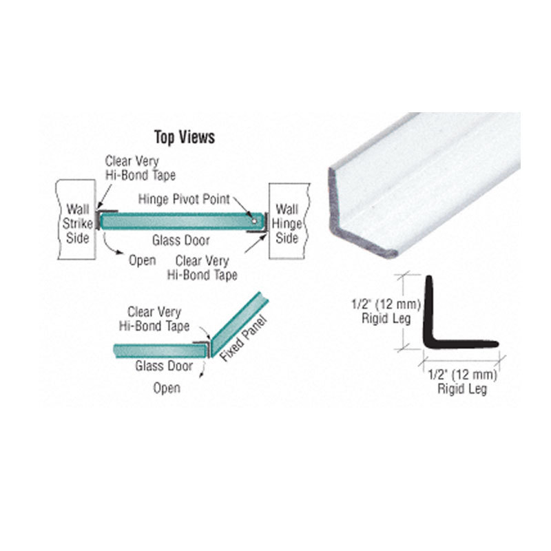Primary image for CRL Multi-Purpose Polycarbonate Clear L-shape Angle Jamb with Pre-Applied Tape f