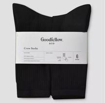 Mens Black Crew Socks Shoe Size 6-12 Wicking Antimicrobial Cotton 6 Pk - $12.99