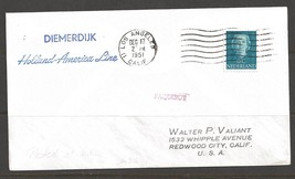 1951 Paquebot Cover Netherlands stamp used in Los Angeles, California (D... - $5.00
