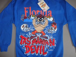 NEW Vintage 2 Sided Looney Tunes TAZ Florida Crew 50-50 Sweatshirt FITS ... - $49.30