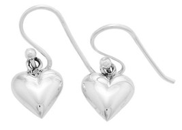 Sterling Silver Small Hollow Puff Heart Dangle Earrings - $16.82