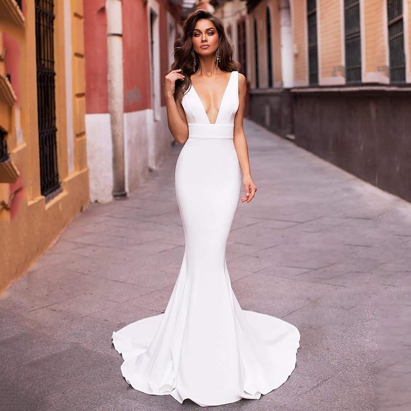 Verngo mermaid wedding dress stain wedding gowns 2020 elegant bride dress long robe de mari e