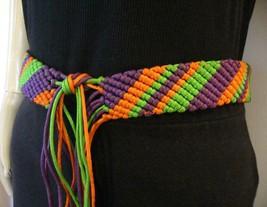 VTG 70's Handmade Art to Wear Silky Macrame Mardi Gras Belt One Size - $24.00