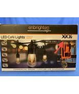 ENBRIGHTEN Cafe Vintage Series LED String Lights 24ft 12 Bulb Black - $29.69