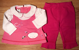 Girl's 3-6 M Months 2 Pc Pink F.P. Kitten Floral Dress/ Top & Koala Baby... - $11.00