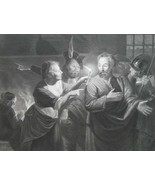 BIBLE Saint Peter in Court of Pontius Pilate - 1854 Antique Print - $19.80