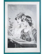 "LOVELY MAIDENS Girls Singing Duet by C. Kiesel - Victorian Era Print 15""... - $25.20"