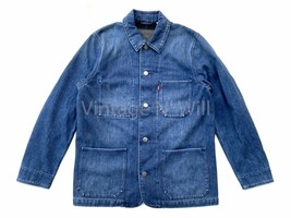 Levis Red Tab Mens L Blue Denim Stone Wash Utility Engineer Coat Workwea... - $121.60