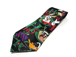 1997 Looney Tunes Characters Christmas Neck Tie 100% Polyester Made in Korea - $29.65