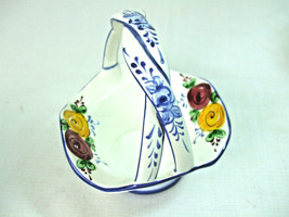 Small Hand Painted Porcelain Basket Braided Handle White Blue Floral Por... - $9.85