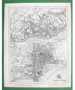 1844 MAP Original - City Plan Lisboa Portugal & Naples Italy - $12.15