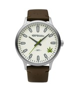 420Waldos Men's Bud Stainless Steel  Quartz Watch  Leather Calfskin Stra... - $145.00