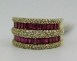 3Ct 14k Yellow Gold Finish Baguette Ruby & Round Diamond Wedding Band Ring - $121.17