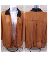 Women's Sequin Hearts Glitterati Girl Sheer Top Size-XL 3/4 Sleeve Burnt... - $18.42