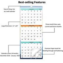 2019 Wall Calendar - 3-Month Display Vertical Calendar Calendar Planner ... - $13.29