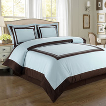 Wrinkle Free Combed Cotton Hotel Blue & Brown Duvet Cover Bedding Set 300TC - $75.99+