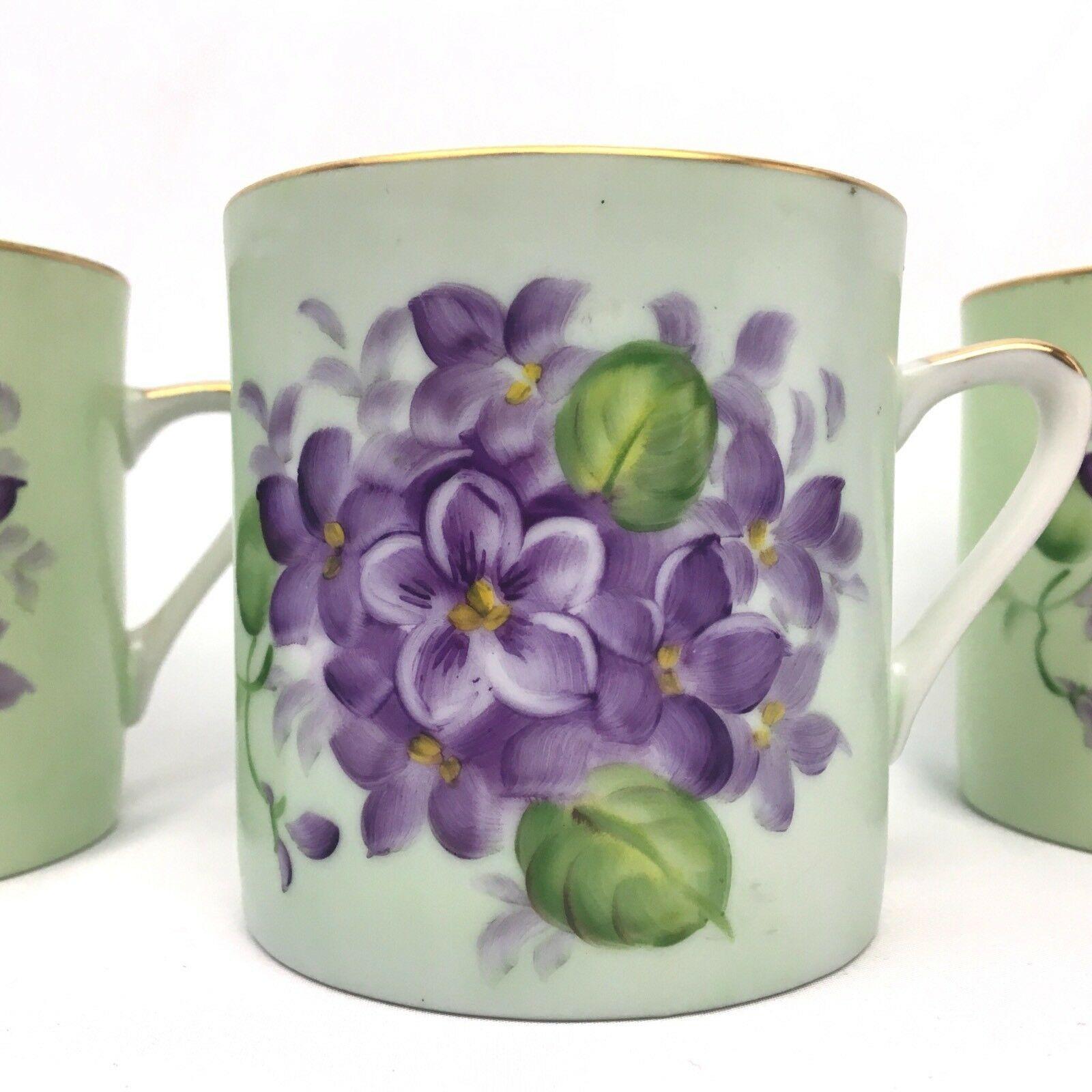 Vintage Lefton Mug Set Lot Green Purple Floral Hand Painted Japan Cottage SL 487 - $15.78