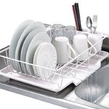3 Pc Dish Drainer Strainer Set White Tray Rack Dryer Drying Kitchen Stor... - $49.50