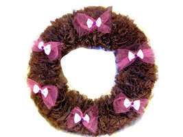 Vintage Fabric Custom Made Brown Wreath 10 inch - $40.00