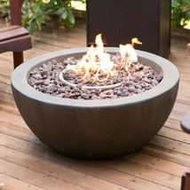 28-inch Round Gray Enviro Stone Natural Gas Fire Pit Bowl - $625.20