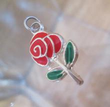 Silver Bracelet Charm  RED ROSE  Vintage Cloisonné Style Enamel 1980s - $34.65