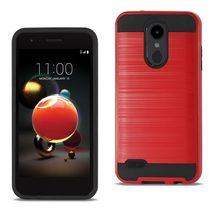 Reiko LG Aristo 2 Hybrid Metal Brushed Texture Case In Red - $8.99+