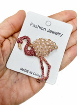 Pink Flamingo Brooch Pin Fake Rose Opal , Pink & AB Rhinestones Animal Jewelry - $15.20