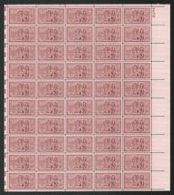 1953 Louisiana Purchase Sheet of 50 US Postage Stamps Catalog Number 1020 MNH