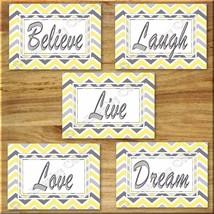 Yellow Gray Chevron Print Wall Art Decor Inspirational  Love LAUGH Believe DREAM - $16.29