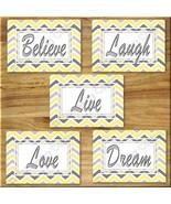 Yellow Gray Chevron Print Wall Art Decor Inspirational  Love LAUGH Belie... - $16.29