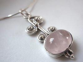 New Rose Quartz Swirls Sterling Silver Necklace India - $18.80