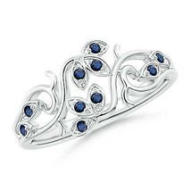 0.12ct Nature Inspired Pave-Set Sapphire Leaf and Vine Ring in Gold - $593.10