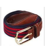American Apparel Rot Marine Blaue Streifen Netz Gürtel Braunes Leder XXS... - $9.92